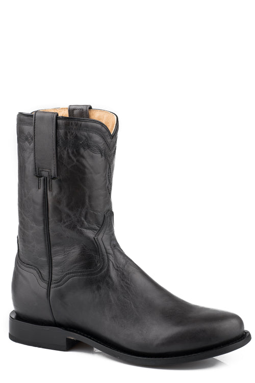 ROPER MENS BLACK SHINY BLACK ALL OVER LEATHER RODERICK BOOTS