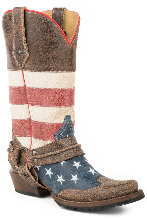 ROPER MENS BROWN AMERICAN FLAG BIKER BOOT W/HARNESS AMERICAN BIKER BOOT