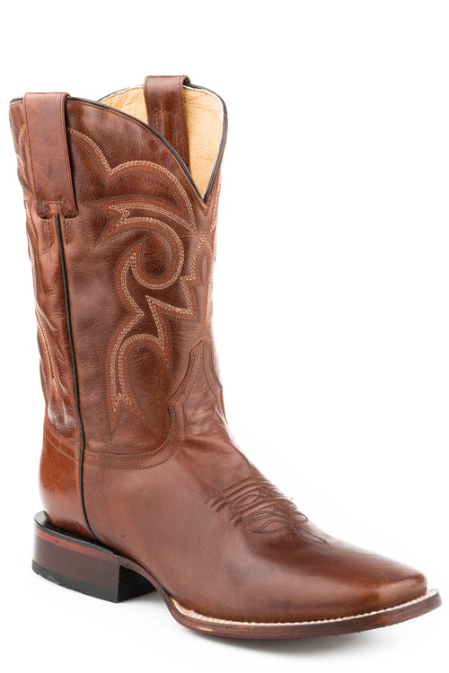 ROPER MENS BROWN MARBLED COGNAC VAMP & SHAFT PARKER BOOTS