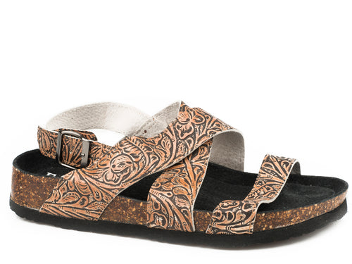 ROPER WOMENS TAN FLORAL TAN EMBOSSED LEATHER STELLA SANDALS