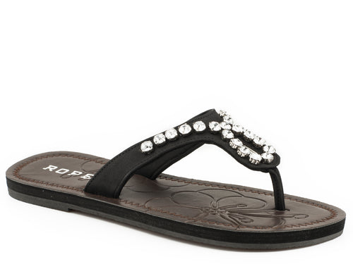 ROPER WOMENS BLACK BLACK STRAP WITH CLEAR CRYSTALS ADA SANDALS