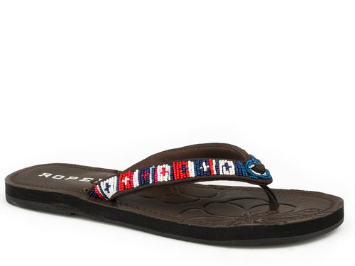 ROPER WOMENS BLUE RED WHITE & BLUE BEADED STRAP CORA SANDALS