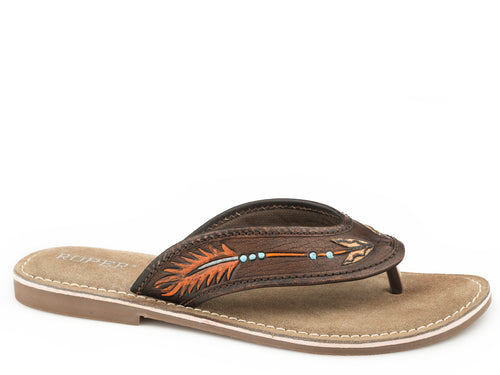 ROPER WOMENS BROWN BROWN TOOLED W/ HAND PAINTED ARROW PENELOPE SANDALS