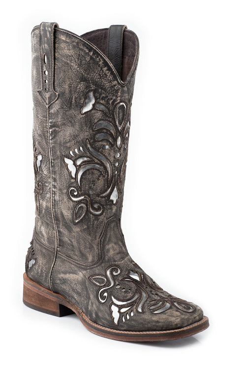 "ROPER LADIES TAN 12"" LEATHER FASHION SQ. TOE BOOT BELLE BOOT"