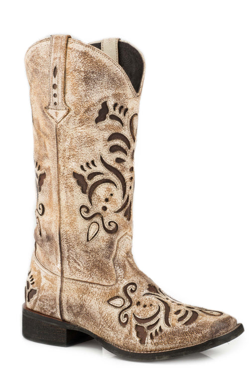 ROPER WOMENS TAN CREME WHITE ANTIQUE BRUSHED SUEDE BELLE BOOT