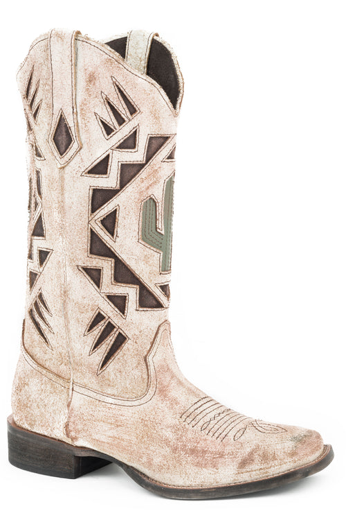 ROPER WOMENS TAN CREME WHITE ANTIQUE BRUSHED SUEDE WITH MOONLIGHT CACTUS BOOTS