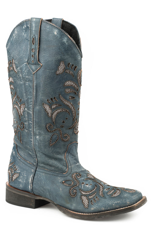 ROPER WOMENS BLUE SANDED NAVY BLUE LEATHER BELLE BOOTS