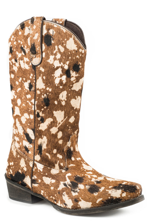 ROPER WOMENS BROWN MULTI COLORED HAIR ON HIDE UPPER SUSSANAH BOOTS