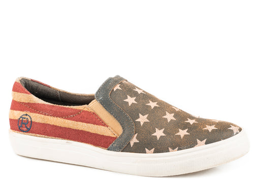 ROPER WOMENS BLUE VINTAGE AMERICAN FLAG SUEDE LEATHER AMERICAN BEAUTY SLIP ON CASUAL