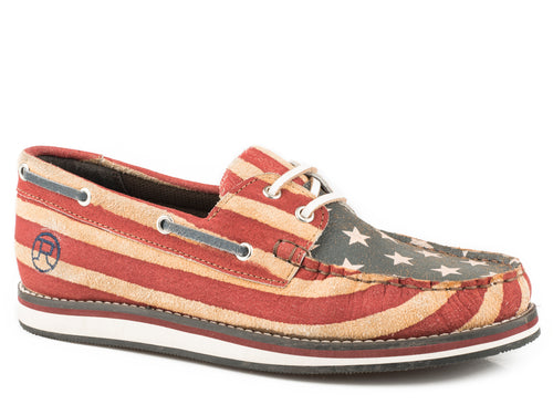 ROPER WOMENS BLUE VINTAGE AMERICAN FLAG SUEDE LEATHER AMERICAN BEAUTY MOC CASUAL