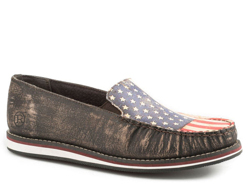 ROPER WOMENS BROWN SANDED BROWN LEATHER FILLY PATRIOT SLIP ON CASUAL