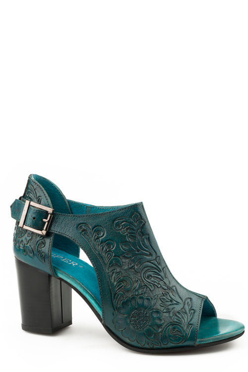 ROPER WOMENS BLUE TURQUOISE FLORAL TOOLED LEATHER MIKA CLOSED BACK CASUAL