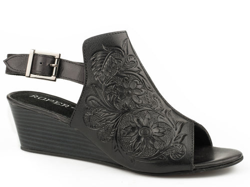 ROPER WOMENS BLACK BLACK FLORAL HAND TOOLED LEATHER ROWAN CASUAL