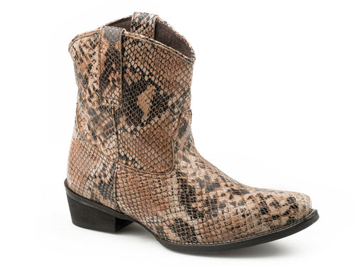 ROPER WOMENS BROWN BROWN MULIT FAUX LEATHER UPPER DUSTY PYTHON BOOTS