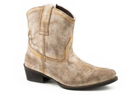 ROPER WOMENS TAN OFF WHITE SUEDE WITH GOLD ACCENTS DUSTY SUEDE BOOTS