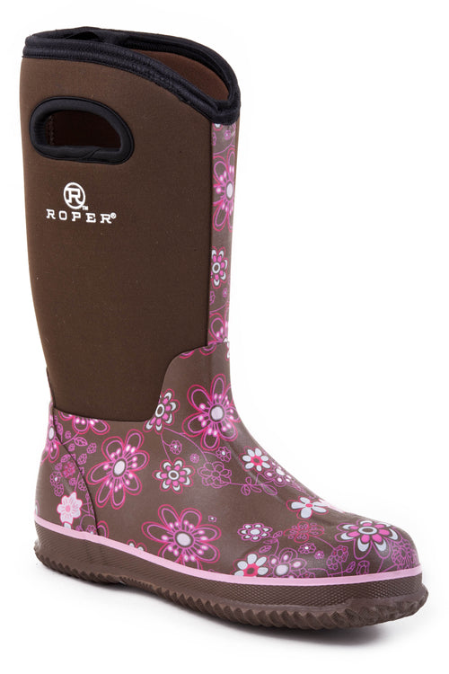 "ROPER LADIES BROWN 12"" BARN BOOT W/PULL HOLE ON SHAFT BARNYARD FLORAL BOOT"