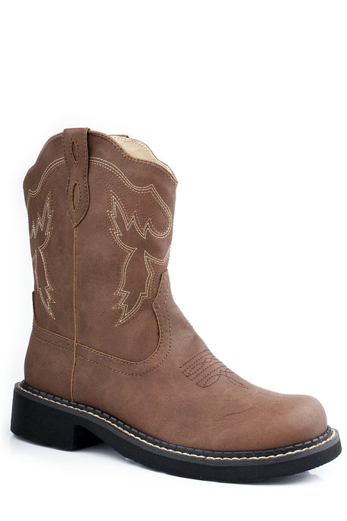 "ROPER LADIES BROWN 8"" CHUNK BOOT W/WESTERN STITCH DESIGN CHUNK RIDER BOOT"
