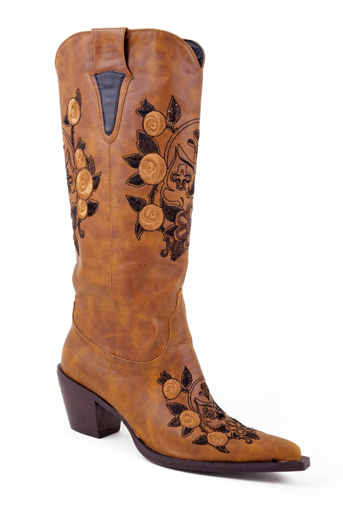 ROPER LADIES TAN FAUX FASHION BOOT SKULL EMBROIDERY MANDY BOOTS