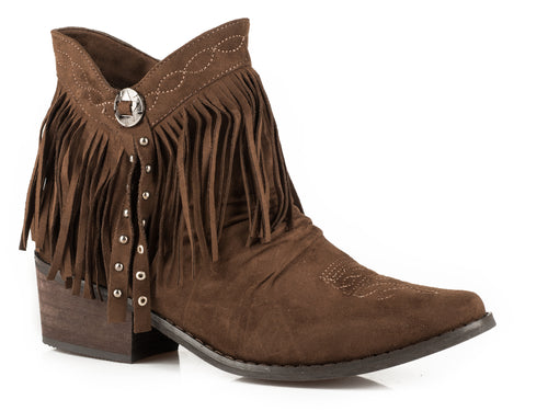ROPER WOMENS BROWN BROWN ROUND TOE WITH 2 INCH HEEL FRINGY SHORTY
