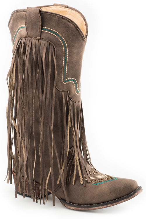 ROPER WOMENS BROWN VINTAGE BROWN FAUX FRINGE BOOT VERONICA BOOTS