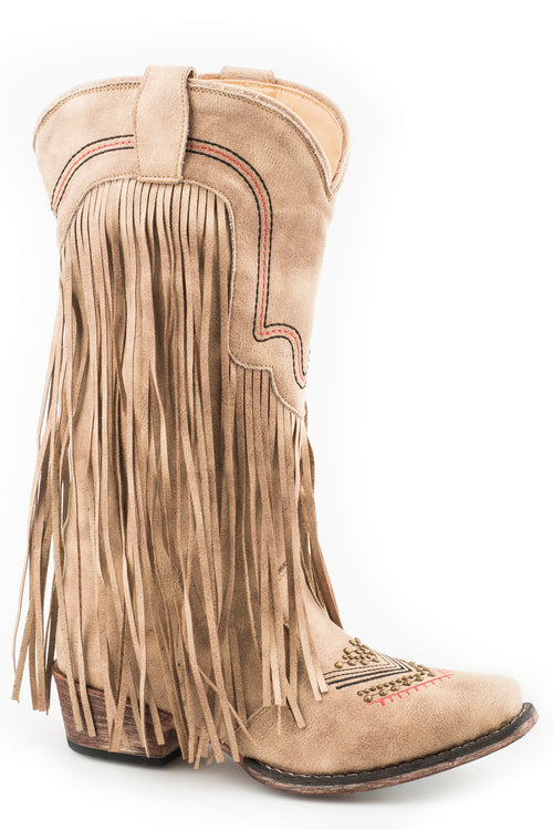 ROPER WOMENS TAN VINTAGE BEIGE FAUX FRINGE BOOT VERONICA BOOTS