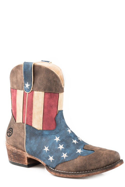 ROPER WOMENS BROWN AMERICAN FLAG SNIP TOE- BROWN TOE CAP FLOTUS SHORTY