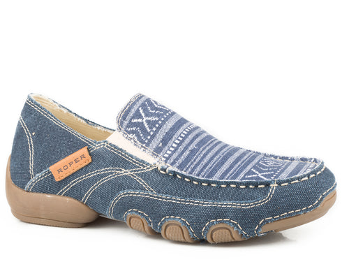 ROPER WOMENS BLUE CANVAS VAMP WITH WOVEN AZTEC DAISY CASUAL