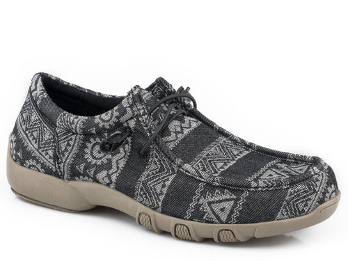 ROPER WOMENS BLACK BLACK AZTEC CANVAS CHILLIN AZTEC CASUAL