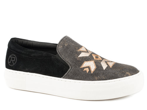ROPER WOMENS BLACK BLACK METALLIC CANVAS & AZTEC EMBRD DARCY CASUAL