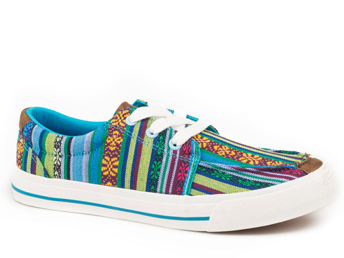 ROPER WOMENS BLUE MULTI BLUE AZTEC CANVAS UPPER ANGEL FIRE CASUAL