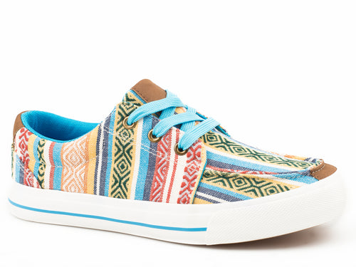 ROPER WOMENS BLUE MULTI BLUE SERAPE CANVAS UPPER ANGEL FIRE CASUAL