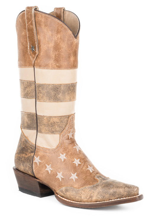 ROPER WOMENS BROWN VINTAGE AMER FLAG SNIP TOE BRWN LEATHR VINTAGE AMERICANA FLAG BOOT