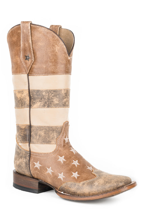ROPER WOMENS BROWN VINTAGE AMER FLAG SQ TOE  BR LTHRS VINTAGE AMERICANA FLAG BOOT