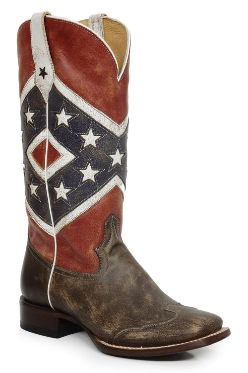 ROPER WOMENS BLUE REBEL FLAG-BROWN TOE CAP/SQ TOE SHE'S A REBEL BOOT