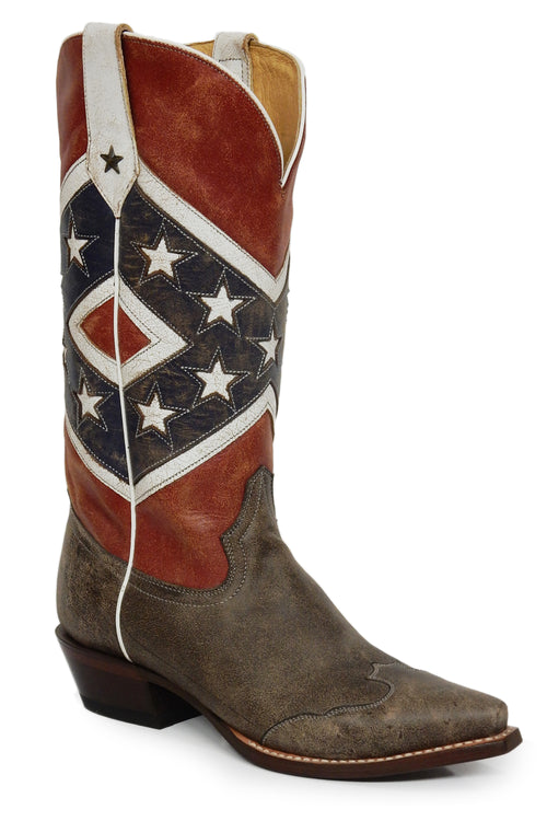 ROPER LADIES BLUE REBEL FLAG-BROWN TOE CAP/  SNIP TOE SHE'S A REBEL BOOT
