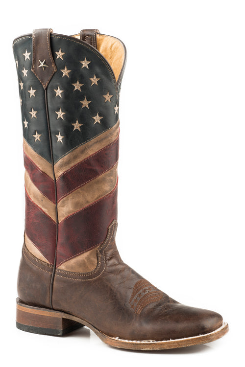 ROPER WOMENS BROWN SQ TOE - VINTAGE FINISH OLD GLORY BOOT