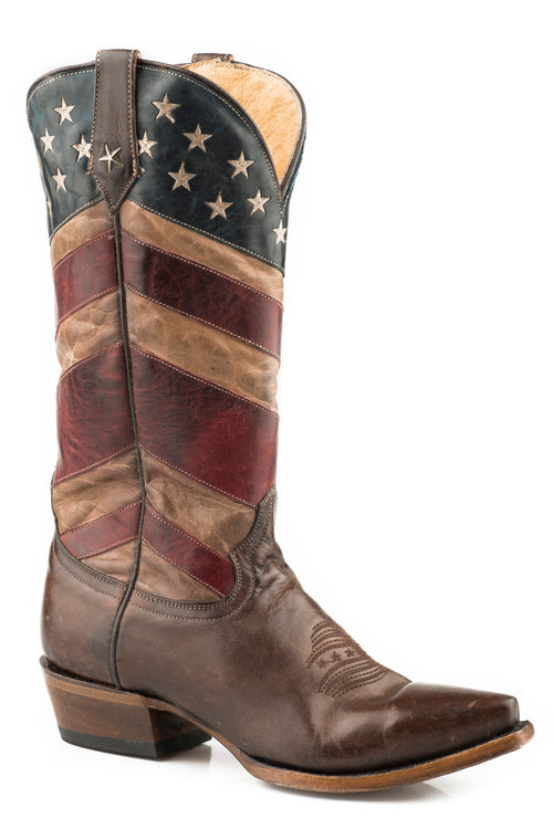 ROPER WOMENS BROWN BURNISHED TAN,BLUE,RED AMERICAN FLAG OLD GLORY BOOT