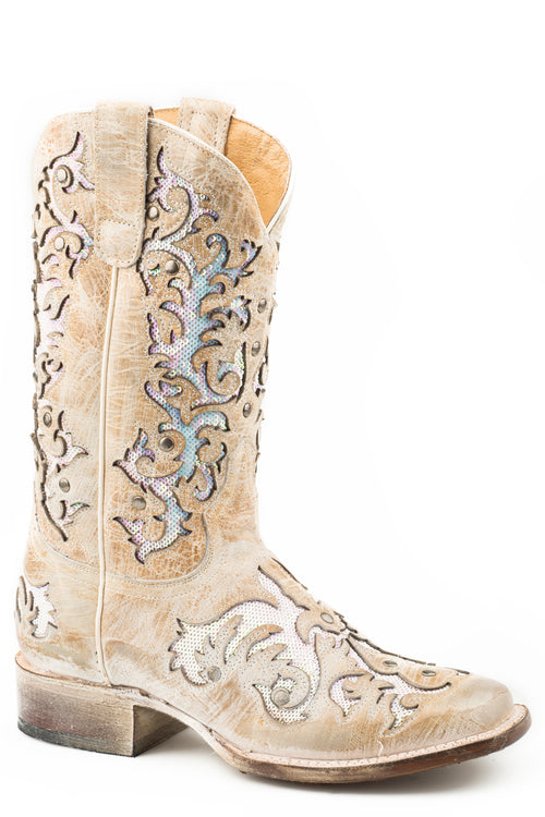 ROPER WOMENS WHITE WAXY TAN SEQUIN UNDERLAY VAMP & SHAFT DAY DREAMER BOOTS