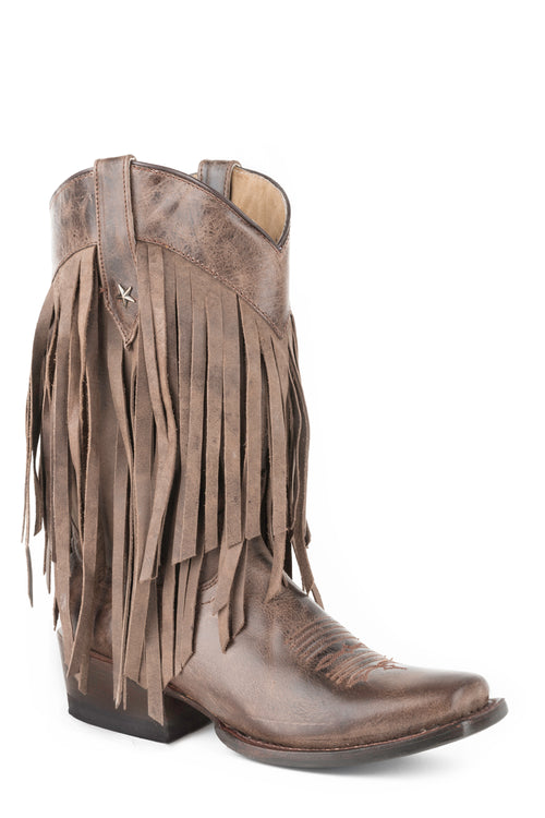 ROPER WOMENS BROWN FRINGE MED SQ TOE BROWN LEATHER TALL FRINGE BOOT