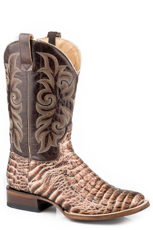 ROPER WOMENS BROWN EMBOSSED GOLD CAIMAN VAMP PIERCE CCS BOOTS