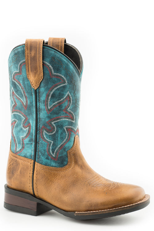 ROPER BIG KIDS TAN TAN BURNISHED LEATHER VAMP MONTEREY BOOTS