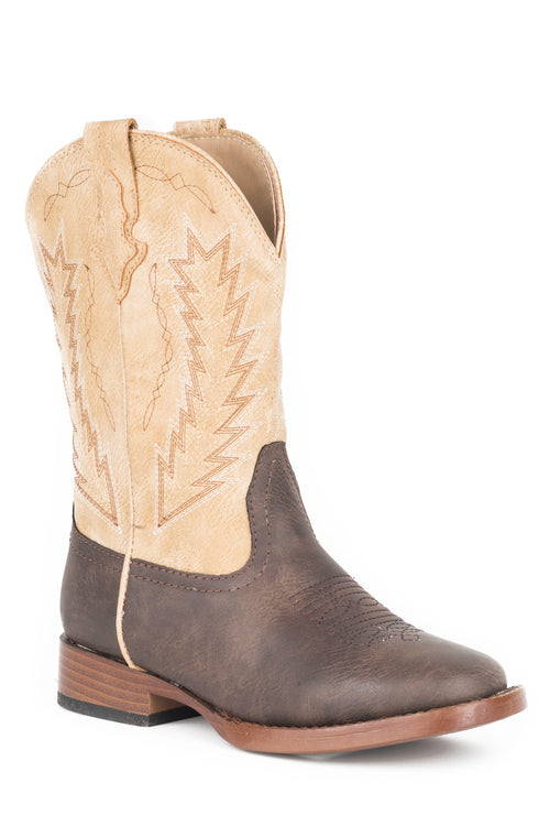 ROPER BIG KIDS BROWN BROWN VAMP/TAN SHAFT WITH ARROW EMB BILLY BOOT