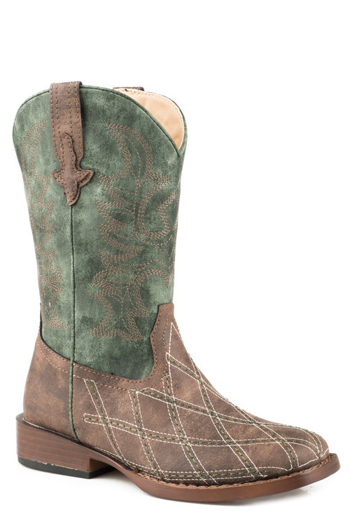 ROPER BIG KIDS BROWN BROWN VAMP  GREEN SHAFT CROSS CUT BOOT