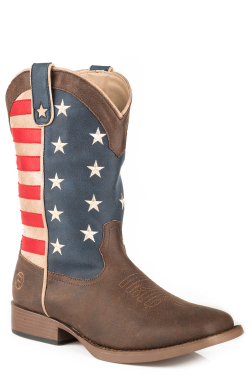 ROPER BIG KIDS BROWN BROWN VAMP AMERICAN PATRIOT BOOT