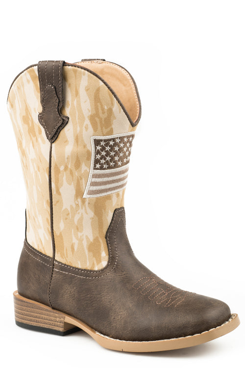 ROPER BIG KIDS BROWN BROWN VAMP AND CAMO SHAFT ALLEGIANCE BOOTS