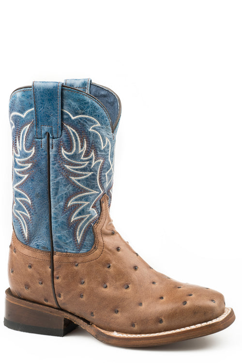 ROPER BIG KIDS TAN BROWN FAUX OSTRICH SQ TOE VAMP BUDDY BOOTS