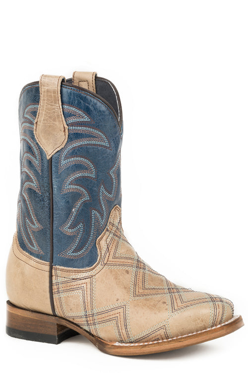 ROPER BIG KIDS BROWN EMBROIDERED TAN VAMP KYLE BOOTS