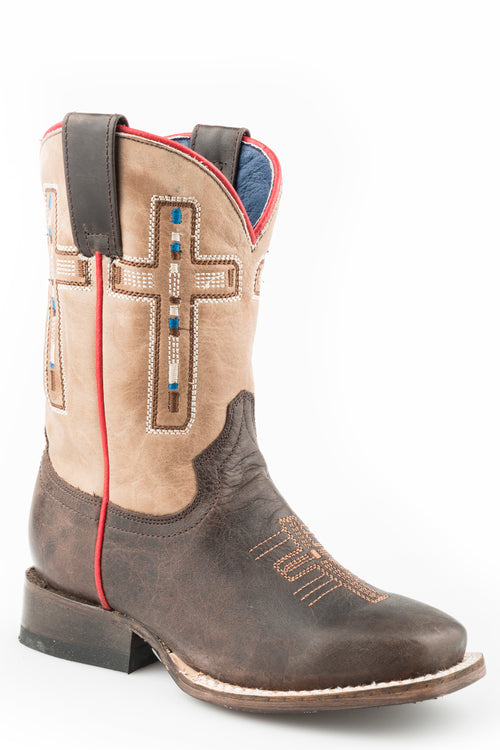ROPER BIG KIDS BROWN OILY BROWN LEATHER VAMP BELIEF BOOTS