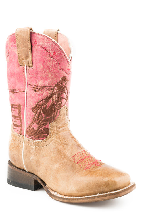 ROPER BIG KIDS TAN TAN LEATHER VAMP RO DE O BARREL RACER BOOTS