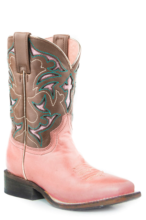 ROPER BIG KIDS PINK PINK LEATHER VAMP & BROWN SHAFT TRUST SQUARE BOOTS